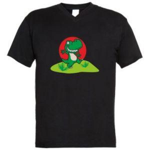 Męska koszulka V-neck Dino
