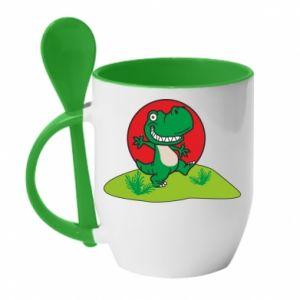 Kubek z ceramiczną łyżeczką Dino