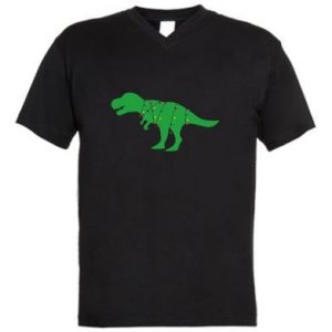 Men's V-neck t-shirt Dinosaur in a garland