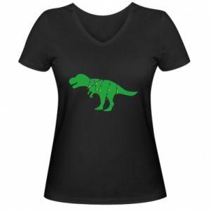 Damska koszulka V-neck Dinozaur w girlandzie