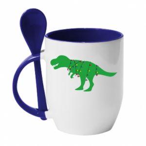 Kubek z ceramiczną łyżeczką Dinozaur w girlandzie