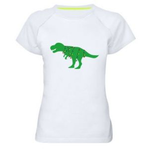 Women's sports t-shirt Dinosaur in a garland