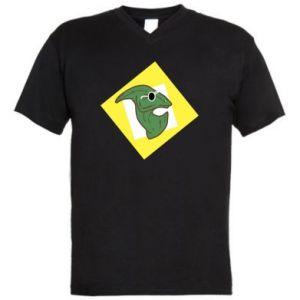 Męska koszulka V-neck Dinozaur w okularach