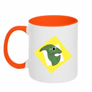 Two-toned mug Dinosaur with glasses