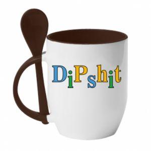 Kubek z ceramiczną łyżeczką Dipshit