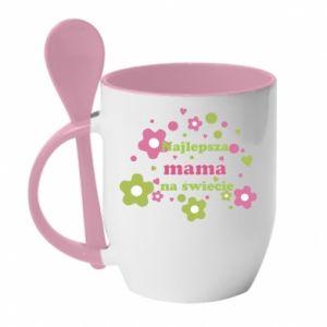 Kubek z ceramiczną łyżeczką Najlepsza mama na świecie