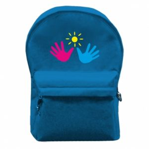 Backpack with front pocket Palms of hands