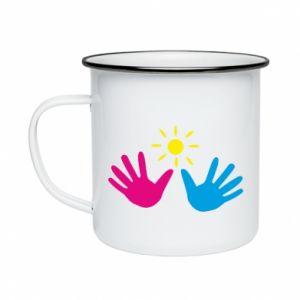 Enameled mug Palms of hands