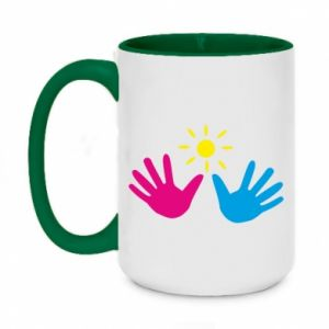 Two-toned mug 450ml Palms of hands