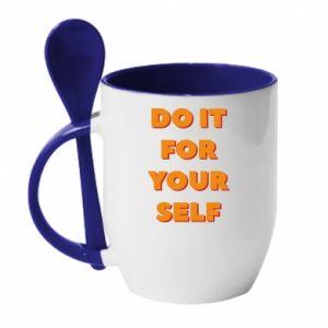 Kubek z ceramiczną łyżeczką Do it for yourself