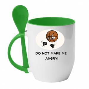 Kubek z ceramiczną łyżeczką Do not make me angry!
