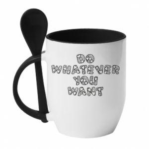 Kubek z ceramiczną łyżeczką Do whatever you want