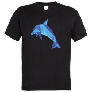 Men's V-neck t-shirt Dolphin abstraction - PrintSalon