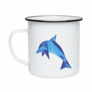 Enameled mug Dolphin abstraction - PrintSalon