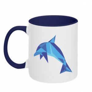 Two-toned mug Dolphin abstraction - PrintSalon