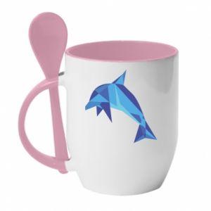 Mug with ceramic spoon Dolphin abstraction - PrintSalon