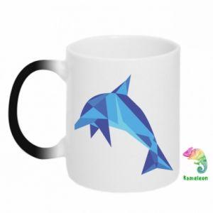 Chameleon mugs Dolphin abstraction - PrintSalon