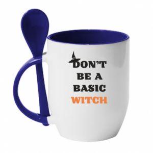 Kubek z ceramiczną łyżeczką Don't be a basic witch