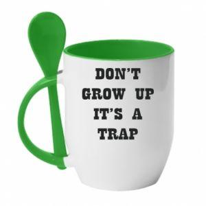 Kubek z ceramiczną łyżeczką Don't grow up