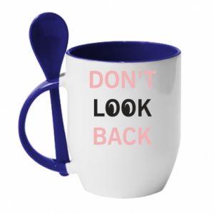 Kubek z ceramiczną łyżeczką Don't look back