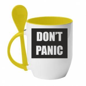 Kubek z ceramiczną łyżeczką Don't panic