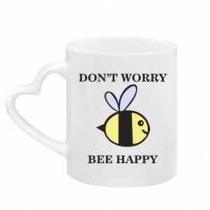 Kubek z uchwytem w kształcie serca Don't worry bee happy