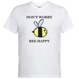 Męska koszulka V-neck Don't worry bee happy
