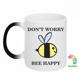 Chameleon mugs Don't worry bee happy