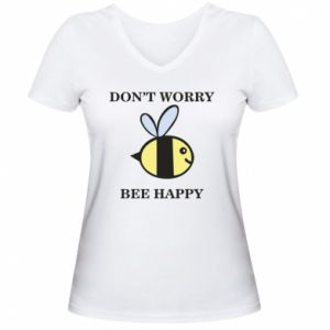 Damska koszulka V-neck Don't worry bee happy