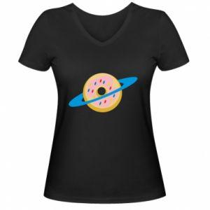 Damska koszulka V-neck Donut planet