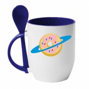 Kubek z ceramiczną łyżeczką Donut planet