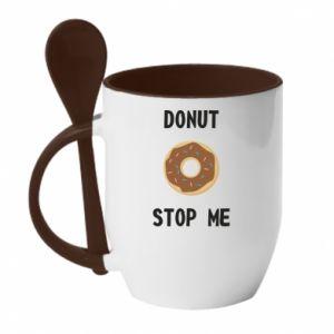 Kubek z ceramiczną łyżeczką Donut stop me