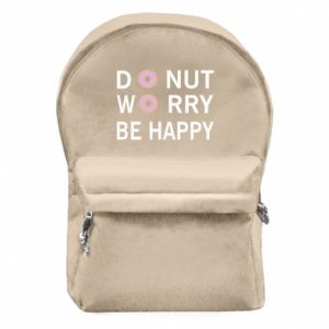Backpack with front pocket Donut worry be happy