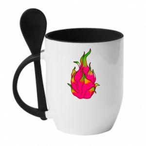 Kubek z ceramiczną łyżeczką Dragon fruit - PrintSalon