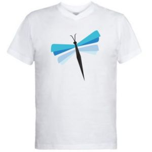 Men's V-neck t-shirt Dragonfly abstraction