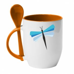 Mug with ceramic spoon Dragonfly abstraction - PrintSalon