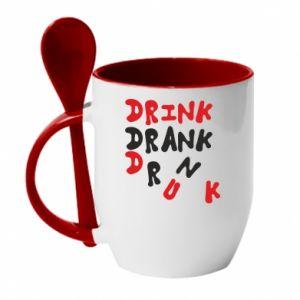 Kubek z ceramiczną łyżeczką Drink. Drank. Drunk