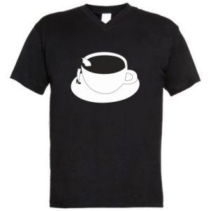 Men's V-neck t-shirt Drown in coffee - PrintSalon