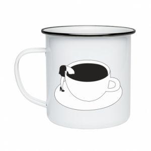Enameled mug Drown in coffee - PrintSalon
