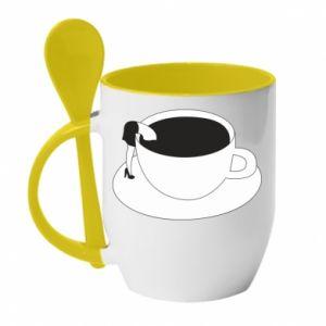 Mug with ceramic spoon Drown in coffee - PrintSalon