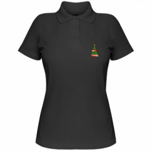 Women's Polo shirt New Year tree decorated