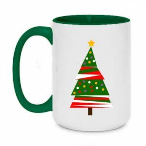 Two-toned mug 450ml New Year tree decorated
