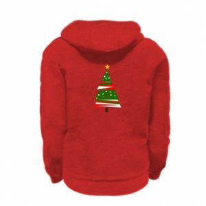 Kid's zipped hoodie % print% New Year tree decorated