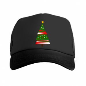 Trucker hat New Year tree decorated