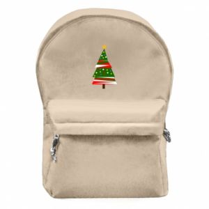 Backpack with front pocket New Year tree decorated