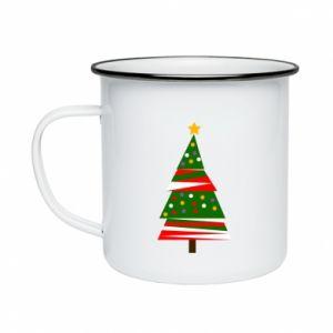 Enameled mug New Year tree decorated