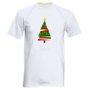 Men's sports t-shirt New Year tree decorated