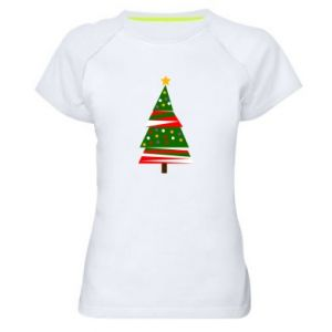 Women's sports t-shirt New Year tree decorated