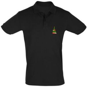 Men's Polo shirt New Year tree decorated