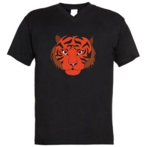 Men's V-neck t-shirt Big tiger face